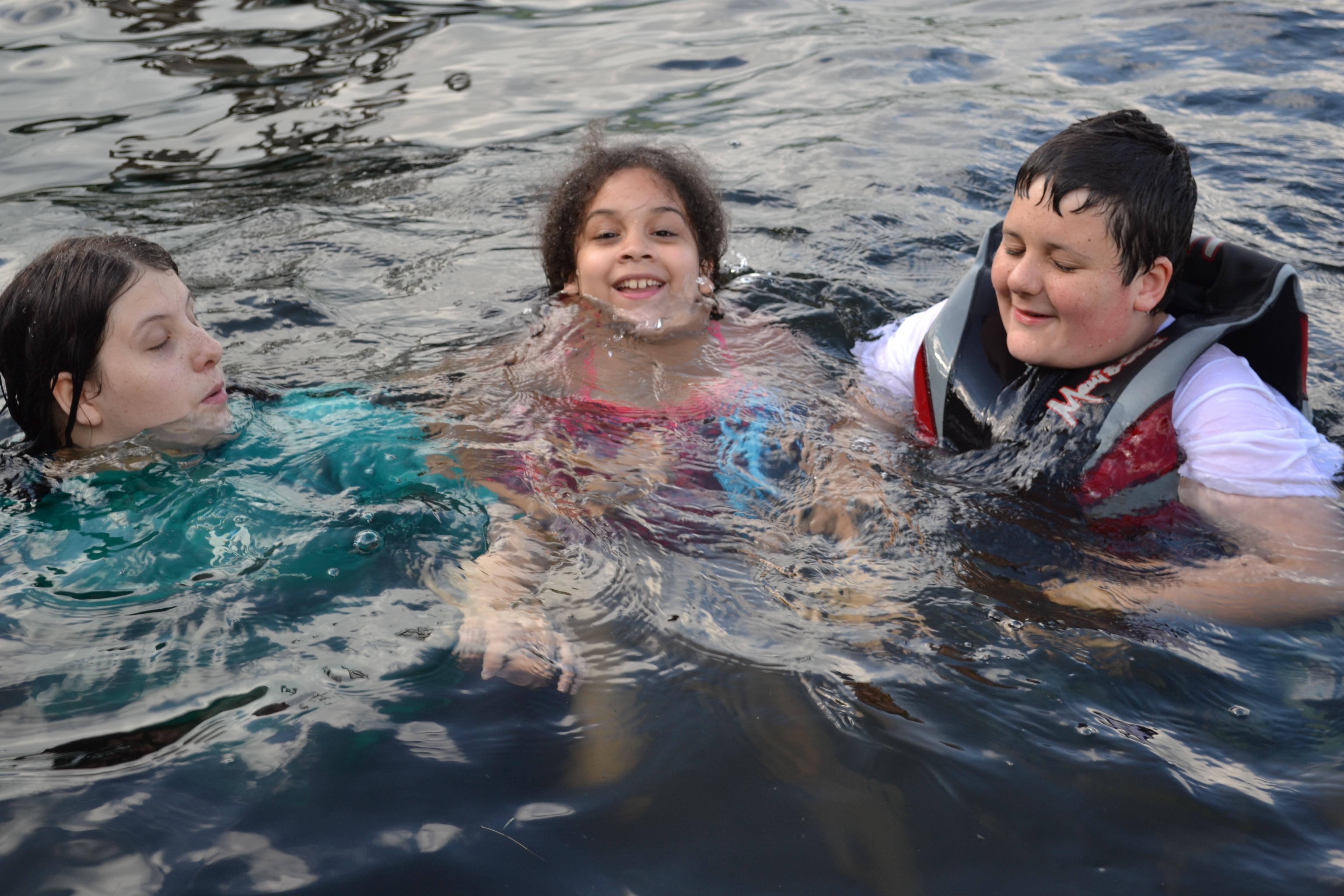 kids enjoying swimming area at Camp Lawroweld