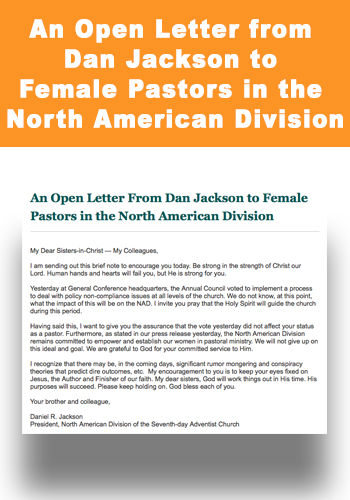 An Open Letter from Dan Jackson to Female Pastors in the North American Division