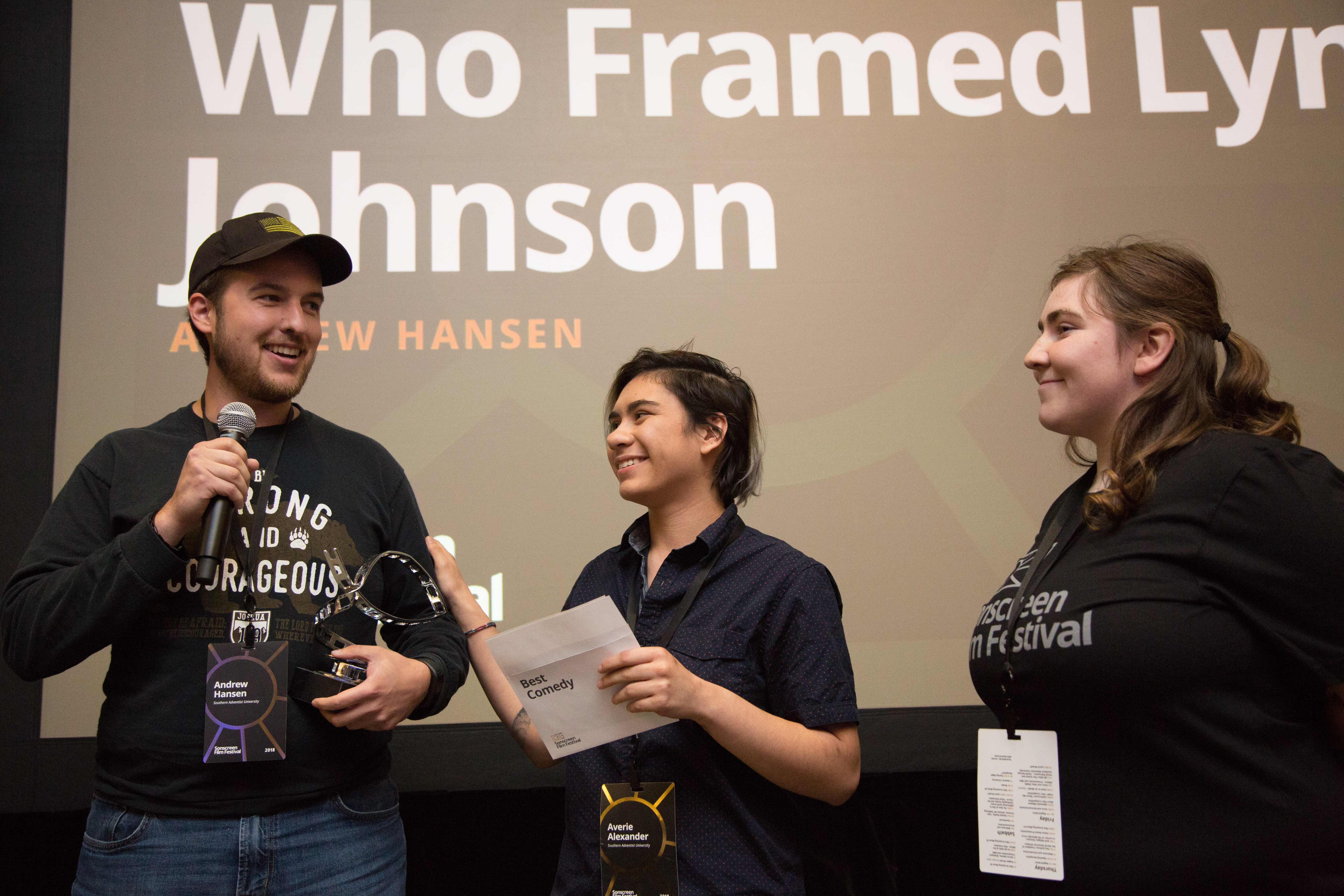 "Andrew Hansen accepts the award for Best Comedy Short with his film ""Who Framed Lyndon Johnson?"""