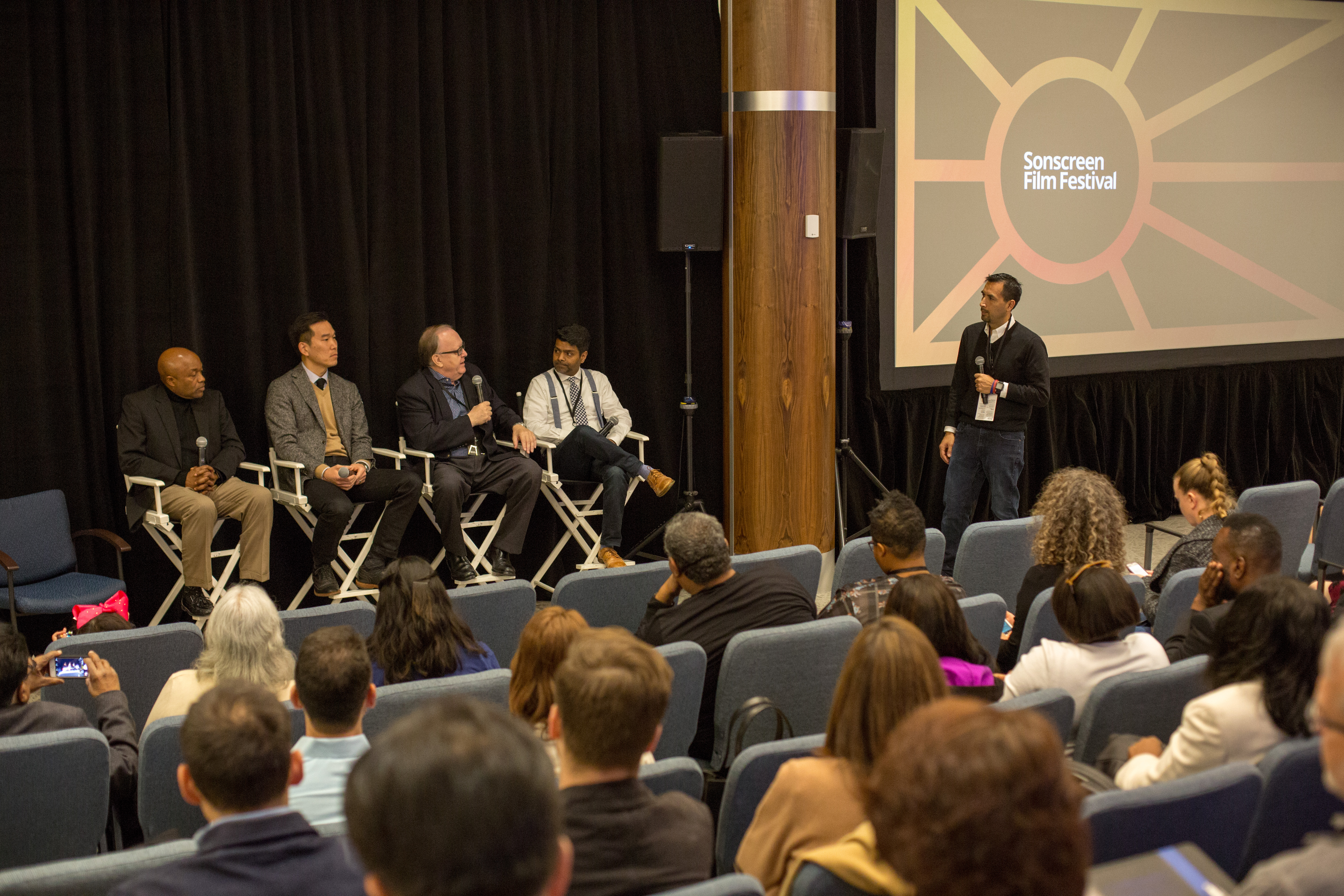 A panel of church leaders and film professors discuss the role of film in addressing social issues that challenge society and the church during the 2018 Sonscreen Film Festival. Photo by Pieter Damsteegt