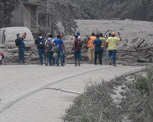Guatemala volcano ash blocks road, ADRA Canada photo