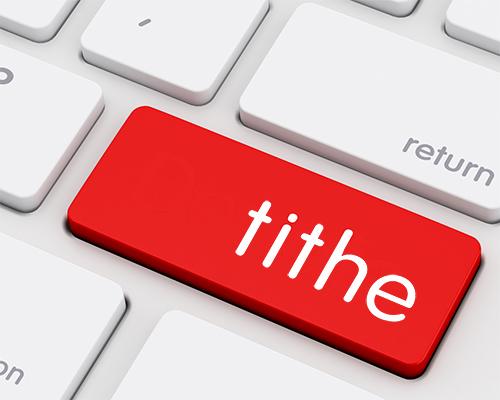 word tithe on computer keyboard
