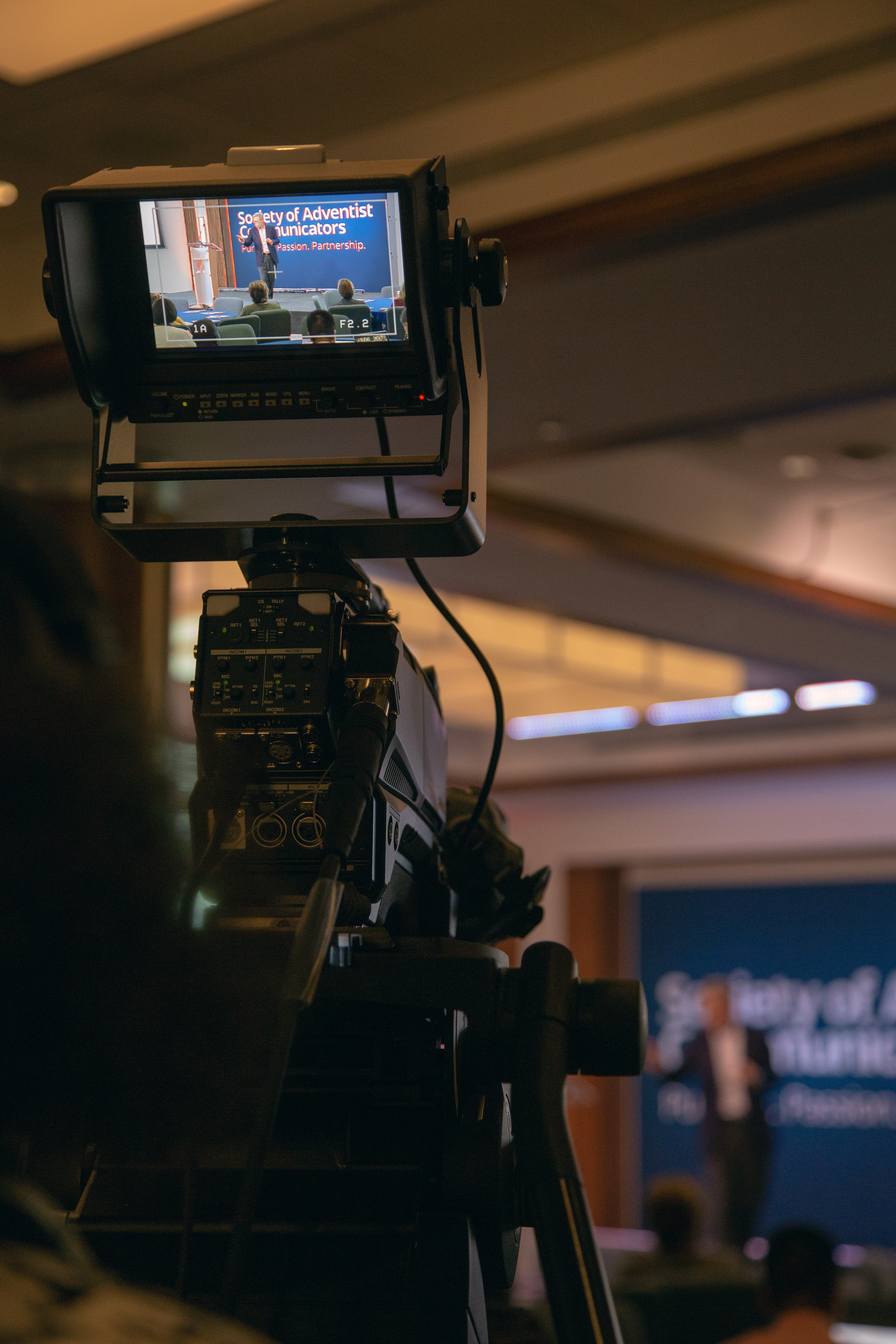 Camera operator focuses on a workshop presenter during the 29th annual SAC convention.