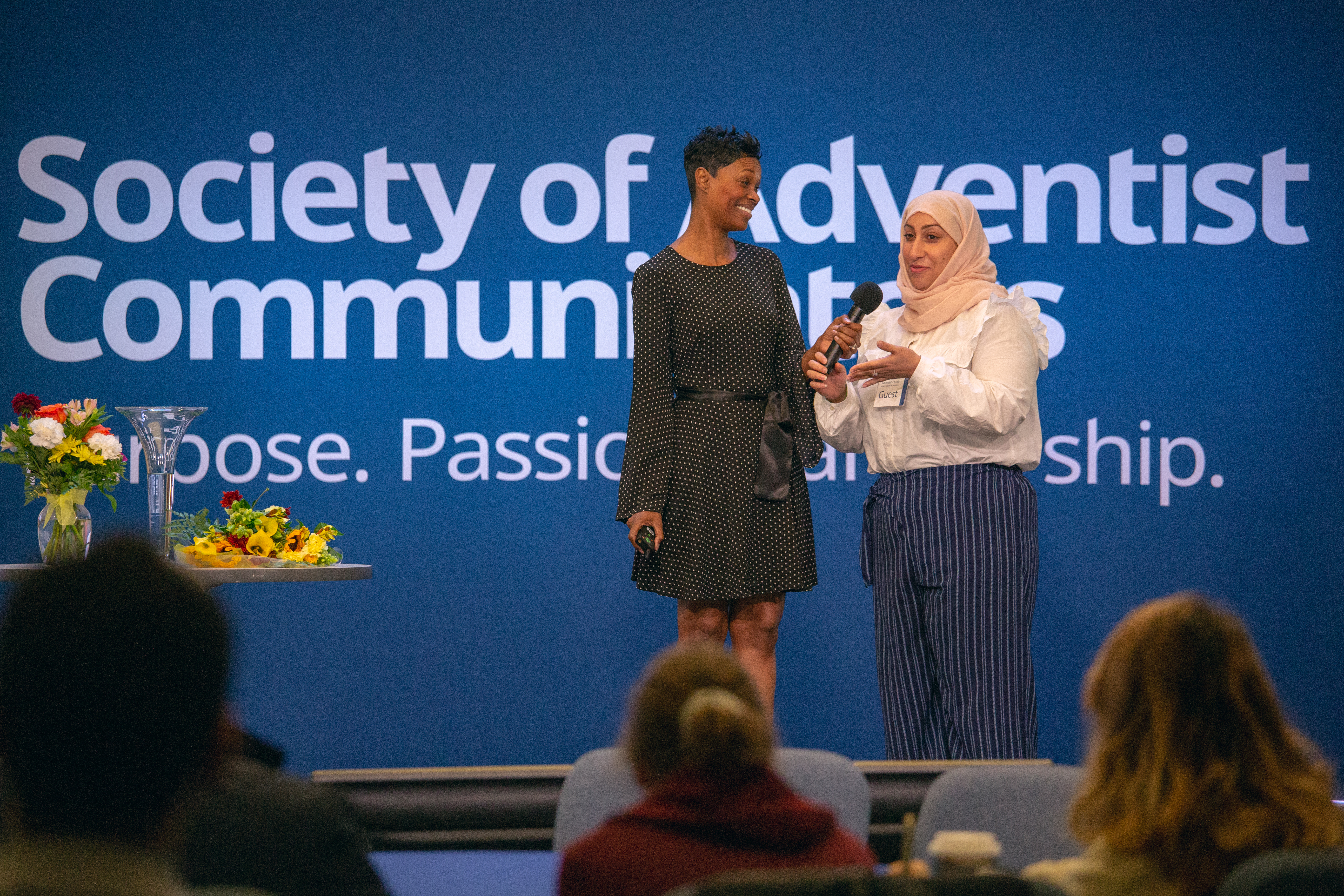 Jarilyn Conner, communication professor for Washington Adventist University, gives her student from Saudi Arabia the platform to describe her experience at the school.