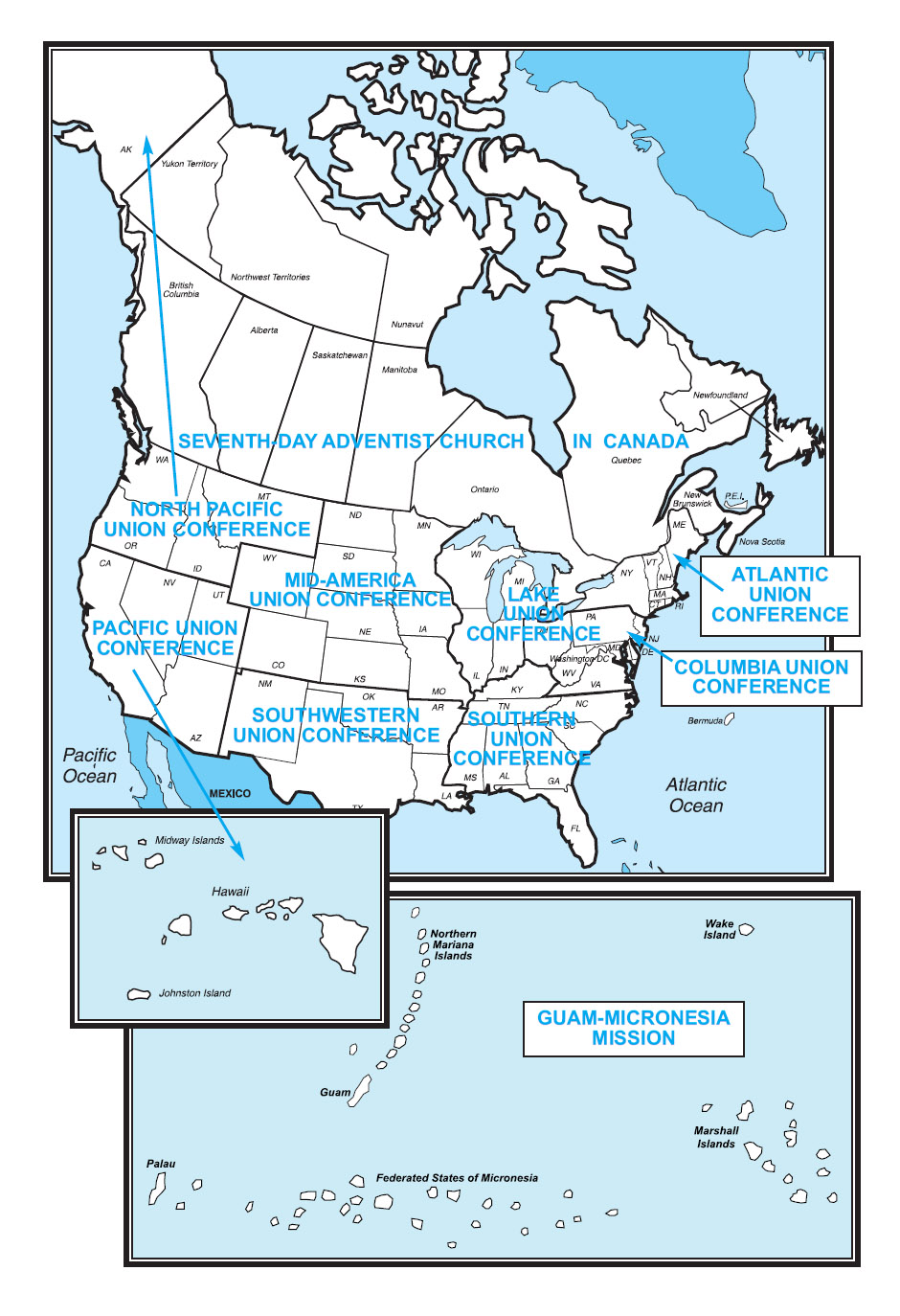 North American Division Map | North American Division of Seventh-day ...
